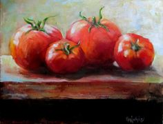 Tomatoes on a Window Sill Food Painting Original Oil on Canvas by Cheri Wollenberg Watercolor Fruit, Watercolor Paintings, Watercolours, Paintings For Sale, Original Paintings, Vegetable Painting, Veggie Art, Still Life Fruit, Fruit Painting