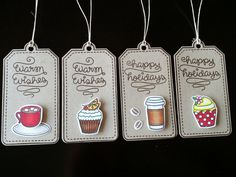 Holiday Gift Tag Collection THREE, Cute Cupcakes, Coffee Cup, Hot Chocolate, Kraft Card, Handmade