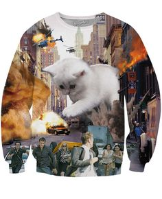 This product is made-to-order. This may be purchased today, but will be shipped from our facility within 25 days. The cat rampage continues with this amazing Cat-astrophe Crewneck Sweatshirt! This all
