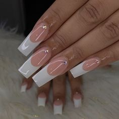 White Tip Acrylic Nails, Long Square Acrylic Nails, Long Square Nails, Blush Pink Nails, Purple Nails, Red Nails, Long French Tip Nails, French Tips, White French Nails