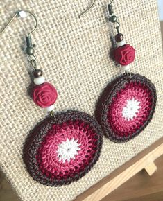Items similar to The Rose Petal earrings; Round Crochet Earrings on Etsy The Rose Petal earrings; Crochet Art, Crochet Round, Thread Crochet, Cute Crochet, Crochet Crafts, Crochet Stitches, Crochet Projects, Crochet Earrings Pattern, Crochet Jewelry Patterns