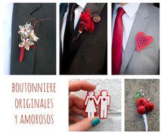 Red Boutonniere. Ideas para bodas en San Valentín