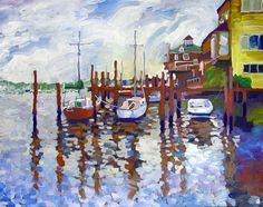 "Original art for sale at UGallery.com | Lewes Boats by Robert Hofherr | $900 | acrylic painting | 24"" h x 30"" w 
