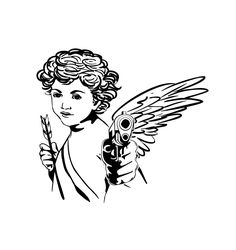 Angel With A Gun Art Print by Bellefleurist - X-Small Small Gun Tattoo, Ankle Tattoo Small, Tiny Tattoo, Small Tattoos, Bear Tattoos, Arrow Tattoos, Gun Tattoos, Ankle Tattoos, Word Tattoos
