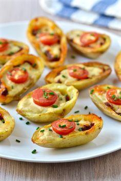 Mini Vegan Pizza Potato Skins with Tahini Cheese | coconutandberries.com