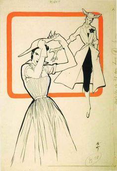 René Gruau, original Illustration for International Textiles, 1951