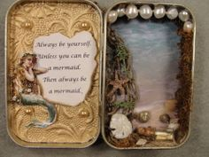 Mermaid shadow box ... Wouldnt this be fun to do inside a hollowed out book!!!