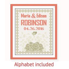 Buy 2 get 1 free. Modern Wedding cross stitch pattern (#P- 1283), customizable, PDF, DIY. Wedding Cross stitch pattern, Frame Cross Stitch.