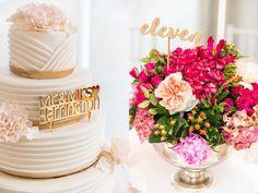 Personalized Gold Mirror Wedding Cake Topper | Peachwik
