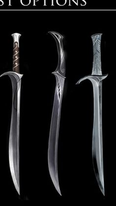 Elven swords Fantasy Sword, Fantasy Weapons, Swords And Daggers, Knives And Swords, Pretty Knives, Sword Art, Elf Sword, Types Of Swords, Cool Swords