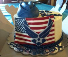 - US Air Force cake for a friend's daughter. Kayla will be leaving for bootcamp on May 4th, please pray for her. It's a Red Velvet cake with cream cheese buttercream. The cap is made from RKT and covered with gumpaste. The rest is 50/50 fondant and modeling chocolate.