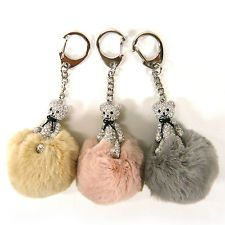 Mini Crystal Rhinestone Teddy Bear Rabbit Fur PomPom Ball Key Ring Bag Charm New