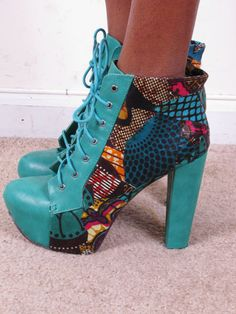 Ankara African Print Patchwork Jeffrey Campbell by tribalgroove ~Latest African Fashion, African women dresses, African Prints, African clothing jackets, skirts, short dresses, African men's fashion, children's fashion, African bags, African shoes ~DK