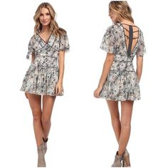 M͜͡a͜͡k͜͡e͜͡ A͜͡n͜͡ O͜͡F͜͡F͜͡E͜͡R͜͡    ᖴᖇEE ᑭEOᑭᒪE NWT Beautiful floral print free people perfect dream dress, button detail and ladder cage back. Fit & flare style dress. Boho floral pattern. Chiffon with lining. V-neck front and caged style back. Zip closure at side.  Due to lighting- color of actual item may vary slightly from photos. No filters have been applied to alter or misrepresent color or condition.  🚫I'm sorry but I do NOT trade🚫 🌺Act Like a Lady🌺 Free People Dresses Mini