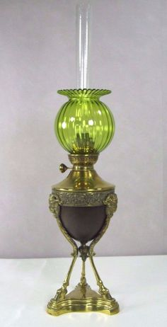 Antique+Oil+Lamp:+French+Empire+Bronze+Ram+Head+Parlor+Banquet+Legras+Shade+1850+