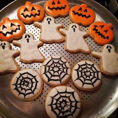 Halloween Cookies -- ghosts, pumpkins & webs. Sugar Cookies with royal icing.