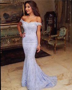 Light Blue Off the Shoulder Mermaid Formal Prom Dress
