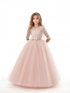 formal dresses Flower Girl Dresses Soft Pink Kids Formal Dress Lace Half Sleeve Bows Tulle A Line Girls Pageant Party Dress Girls Lace Dress, Girls Formal Dresses, Dresses Kids Girl, Girls Party Dress, Kids Outfits, Flower Girl Dresses, Dress Lace, Dress Party, Dress Formal