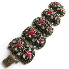 Vintage signed SELRO Red Aventurine Art Glass & Clear Rhinestones Etruscan Style Bracelet by MyVintageJewels on Etsy