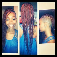 Box braids with shaved sides (exactly how i want mines) Braids With Fade, Braids With Shaved Sides, Big Box Braids, Long Braids, Shaved Side Hairstyles, Funky Hairstyles, Braided Hairstyles, Black Girl Braids, Girls Braids