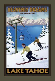 Lake Tahoe Posters, Vintage Lake Tahoe, Ski Heavenly