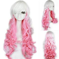 Free Shipping 65cm Long White Pink Curly Wavy Ombre Synthetic Hair Cosplay Wig