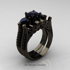 Classic 14K Black Gold Three Stone Black Diamond by artmasters