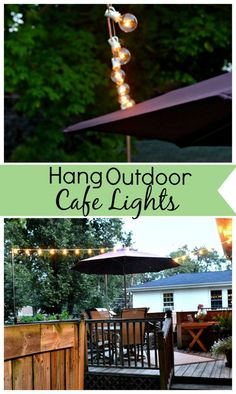 How to hang outdoor cafe lights over your uncovered deck or patio. www.chatfieldcourt.com