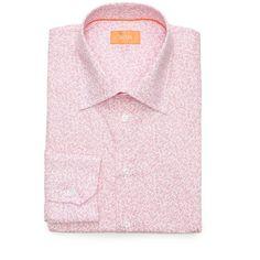 5634425f Tallia Orange Pink Slim-Fit Floral Print Dress Shirt (2.545 RUB) ❤ liked