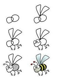 How to draw a bee. Students can draw bees on blank bookmarks. Bee a reader! How to draw a bee. Students can draw bees on blank bookmarks. Bee a reader! Bee Drawing, Painting & Drawing, Drawing Step, Drawing Faces, Basic Drawing For Kids, Drawing Ideas, Doodle Drawings, Doodle Art, Drawing Lessons