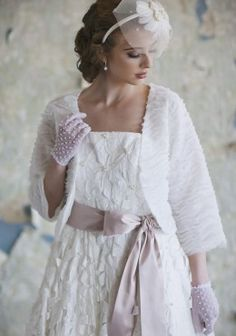 vintage wedding gloves and coat :)