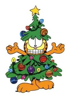 Garfield masquerading as a Christmas tree.