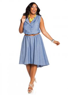 Ashley Stewart: Belted Denim Shirt dress Big beautiful curvy women, real sizes with curves, accept your body sizes, love yourself no guilt, plus size, Fashion, Fragyl Mari sees your fabulousness!