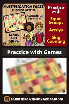 Print out these color or black and white versions of these game boards for students to practice the multiplication tables 2 through 12. This is a fun game in which students practice the multiplication facts with arrays, equal groups, skip counting, or any other strategy. This activity can be done remotely using a document camera or played independently at home.  Game boards are available in 5 different themes. Discover and learn more! #twoboysandadad Multiplication Facts Practice, Multiplication Tables, Multiplication Strategies, Math Strategies, Standards For Mathematical Practice, Mathematical Practices, Teaching Numbers, Teaching Math, Teaching Addition