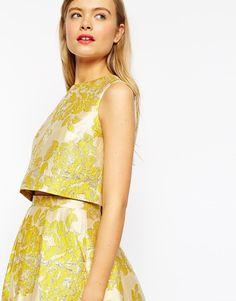 Image 3 ofASOS Yellow Floral Jacquard Shell Top - Co-ord