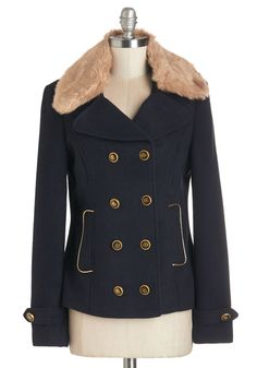 Blustery Bustling Jacket. No matter the weather outside, you can still tackle that to-do list while bundled up in the double-breasted buttons of this navy jacket! #blue #modcloth