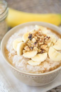 Smooth, creamy and slightly tangy Banana Oatmeal is sweetened with maple syrup and topped with crunchy walnuts. Greek yogurt gives this heartwarming, healthy oatmeal a creamy texture and tangy flavor!
