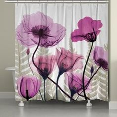 Shop for Laural Home X-Ray Fuchsia Floral Shower Curtain. Get free delivery On EVERYTHING* Overstock - Your Online Shower Curtains & Accessories Store! Bathroom Shower Curtain Sets, Floral Shower Curtains, Shower Curtain Rings, Shower Tub, Metal Curtain, Curtains With Rings, Hang Curtains, Pink Lotus, Home Decor