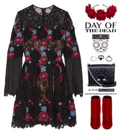 """""""Day of the Dead / Elie Saab Fringed embroidered cotton-blend tulle mini dress"""" by palmtreesandpompoms ❤ liked on Polyvore featuring Accessorize, Elie Saab, Yves Saint Laurent, Alexander McQueen, Gathering Eye, ElieSaab, Dayofthedead and netaporter"""