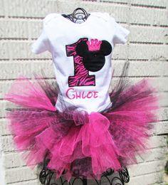 Custom Personalized Boutique Minnie Mouse Princess Birthday Tutu set