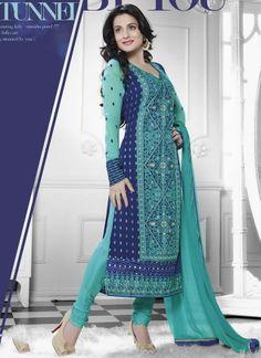 Amisha Patel Sky Blue Pure Georgette Bollywood Salwar Suit #salwar #kameez  #bollywoodsalwar  http://www.angelnx.com/Salwar-Kameez