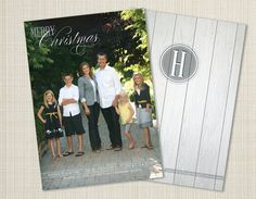Simple Elegant Christmas Card Design - 5x7 Christmas Photo Card - White washed wood texture - Digital File