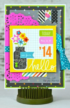 Hello Card *Simple Stories DIY Boutique* - Scrapbook.com - Made with Simple Stories DIY Collection.