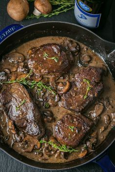 Filet Mignon in Mushroom Wine Sauce - An easy, excellent recipe for filet mignon. The mushroom wine sauce is mouthwatering and tastes gourmet. This filet mignon recipe is perfect for any occasion! Mushroom Wine Sauce, Mushrooms In Wine Sauce, Mushroom Gravy For Steak, Mushroom Steak Sauce Recipe, Steak And Mushrooms, Think Food, Beef Dishes, Meat Recipes, Gourmet Dinner Recipes