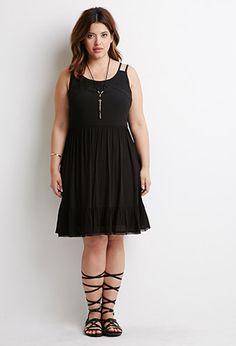 Crochet-Trimmed Babydoll Dress   Forever 21 PLUS - 2000076656