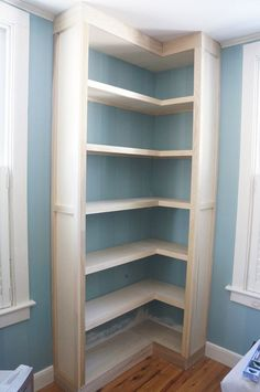 Beautiful corner built in bookcase.