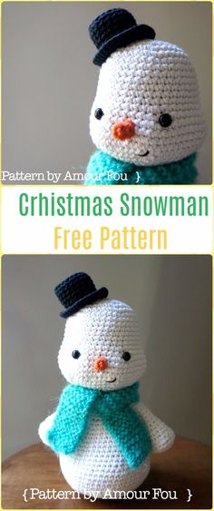 Crochet Christmas Snowman Free Pattern - Amigurumi Crochet Christmas Softies Toys Free Patterns