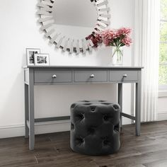 Apr 2020 - Buy Harper Grey Solid Wood Dressing Table from - the UK's leading online furniture and bed store Dressing Table Storage, Dressing Room Decor, Bedroom Dressing Table, Dressing Room Design, Bedroom Desk, Room Decor Bedroom, Modern Bedroom, Dressing Tables, Dressing Rooms