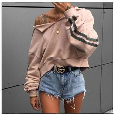 44caf9c63 Sporty Outfits – Stripe Sleve Khaki Hoodie – Women Long Sleeve Hoodie  Sweatshirt Sweater Casual Hooded Tops Jumper Pullover – Looks Magazine