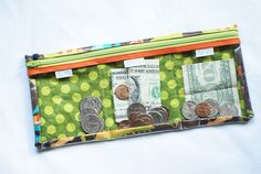 """give, spend, save""  wallet for kids"